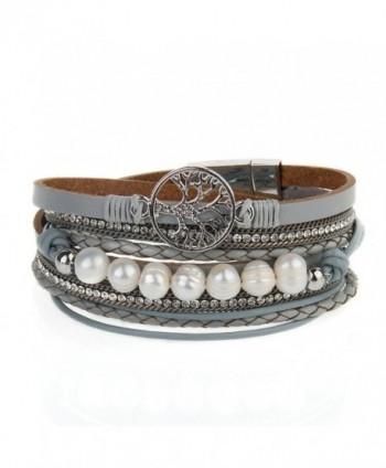 Jenia Leather Bracelet Pearl Wristband - sport wristband-gray - C618530MWOK