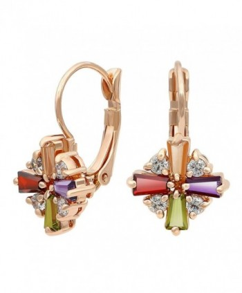 Kemstone Colorful Cubic Zirconia Leverback Dangle Earrings Gold Plated Jewelry for Women - C812G9GNOHV