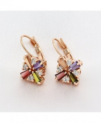 Kemstone Colorful Zirconia Leverback Earrings