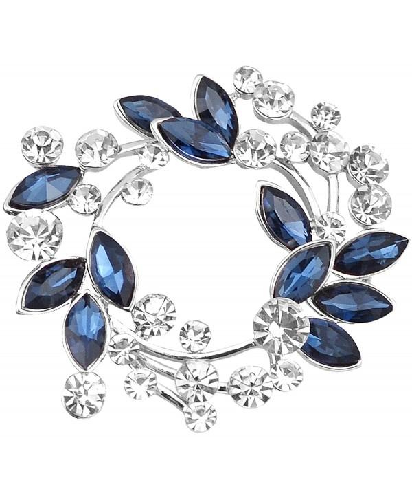 Gyn&Joy Clear Crystal Rhinestone Floral Wreath Pin Brooch BZ005 - Silvery Tone Plated - CC180E5NHI8