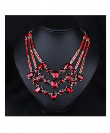 Hamer Women's Multi-color Crystal Luxury Statement Chokers Necklace Pendant Jewelry for Girls - Red - CR12FY2TKSX