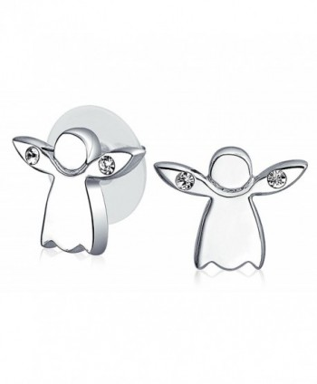 Petite Crystal Guardian Angel Stud earrings Rhodium Plated Brass 10mm - CQ11CZFSHPP