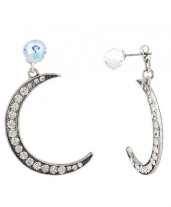 Lux Accessories burnished Silvertone Pave crescent Moon Front Back Earrings - CO12N0GQN9B