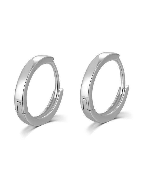 MBLife 925 Sterling Silver Polished Finish Unisex Huggie Mini Hoop Earrings (15mm Diameter) - CH116KWOZVJ