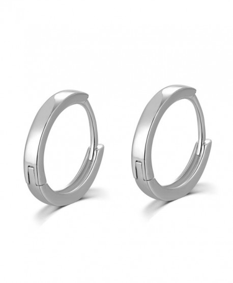 MBLife 925 Sterling Silver Polished Finish Unisex Huggie Mini Hoop Earrings (15mm Diameter) - CH116KWOZVJ