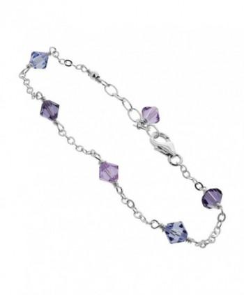 Gem Avenue Sterling Silver Swarovski Elements Multicolor Bicone Crystal Ankle Bracelet - C9122J14ESX