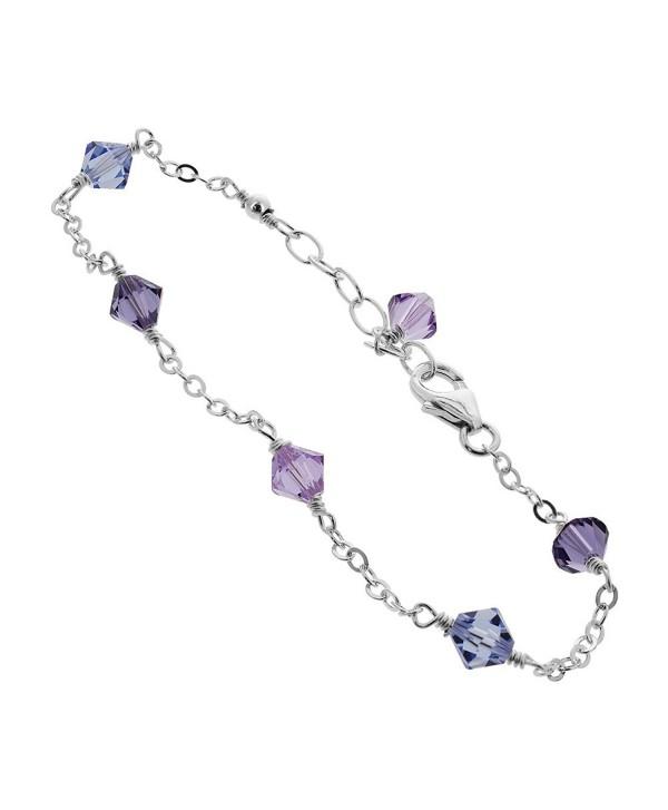 Sterling Silver Swarovski Elements Multicolor Bicone Crystal Ankle Bracelet C9122j14esx