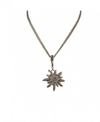 Bavarian Rhinestone Edelweiss Necklace (antique silver coloured) - Traditional German Dirndl Jewelry - CS12FIWZ57T