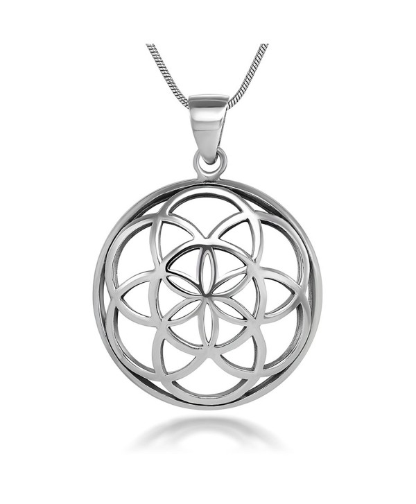 925 Sterling Silver Seed of Life Mandala 28 mm Round Circle Charm Pendant Necklace- 18 inches - CF11W4HEU37