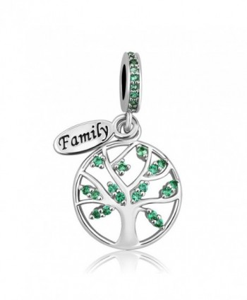 LovelyCharms Family Tree of Life Charm Green Dangle Bead Fits European Bracelets Pendants - C1187Q076WS
