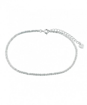 LuckyJewelry Sexy 925 Sterling Silver Simple Barefoot Anklet Ankle Bracelet - CE12KH638B1