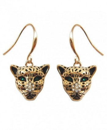 Navachi 18k Yellow Gold Plated Cheetah Leopard Head Crystal Az1384e Dangle Drop Earrings - CD17Y05OIE2