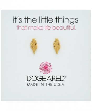 Dogeared It's The Little Things Feather Stud Earrings - Gold - CL12MA65KMI