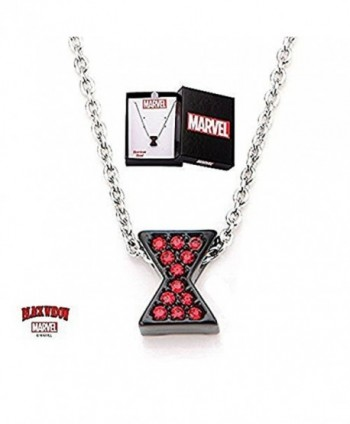 Women's Stainless Steel Avengers Black Widow Necklace with Red Cubic Zirconia Gems Necklace - CY1204SUGKD