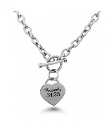 Stainless Steel Proverbs 31:25 Heart Charm Bracelet & Necklace - CJ12MYM1RPK