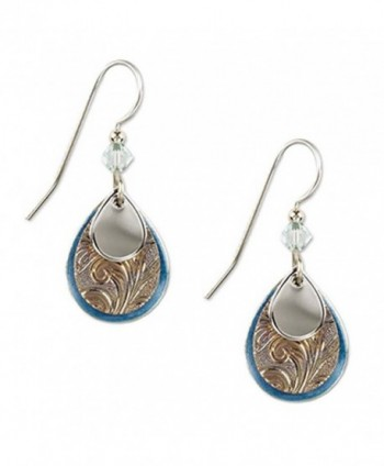 Silver Forest Silvertone and Blue Enamel Teardrop Layered Dangle Earrings - C511OEEJ1C3