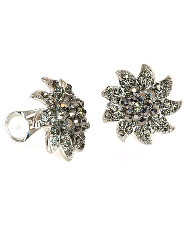 Simulated Rhinestone Cluster Flower Clip-on Earrings - Hematite - CZ11D5ZGBGB