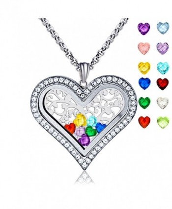 Family Tree of Life Floating Living Memory Love Heart Locket CZ Necklace All 12 Heart Birthstones Include - CA188U8NSIA