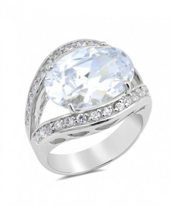 CHOOSE YOUR COLOR Sterling Silver Large Ring - White Simulated Cubic Zirconia - C012O37I2DH