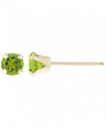 .20 CT Round 3MM Green Peridot 14K Yellow Gold Stud Birthstone Earrings - CF12G58K21T