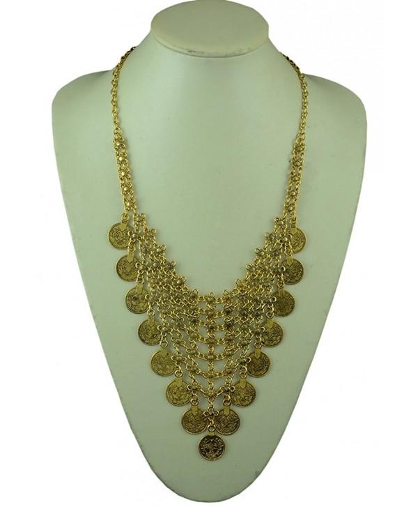 Flesser Women Coins Statement Bib Chunky Choker Necklace Pendant - C811S8EAQCX