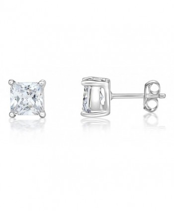 Sterling Silver 925 CZ Diamond Round or Square Basket Prong Set Stud Earrings (ROUND 5MM) - CB12D5UJCLL