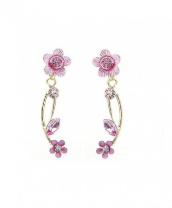 Glamorousky Pink Flower Shape Golden Earrings with Pink Austrian Element Crystals (831) - CK118SOE5SZ