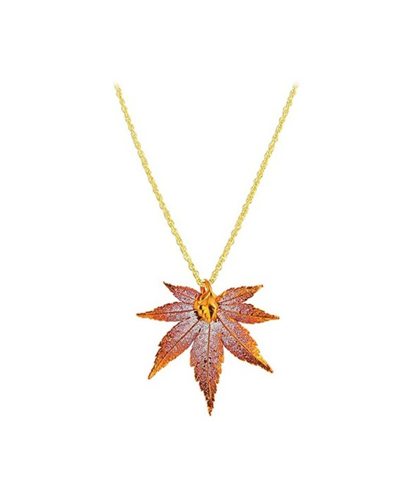 "Gem Avenue Copper Plated Japanese Maple Real Leaf Pendant 1mm Rolo Chain Necklace (18"" - 20"" Available) - C4115PCR76Z"