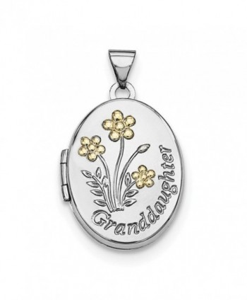 Sterling Silver w/ 14k Gold-plated 21mm Oval Granddaughter Locket - C312LHU6JQH
