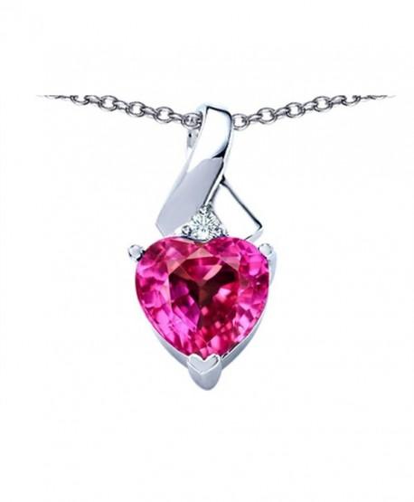 Star K Sterling Silver 8mm Heart Shape Ribbon Pendant - Created Pink Sapphire - C41100BKKXX