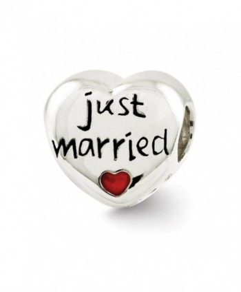 Sterling Silver and Enameled Just Married Heart Bead Charm - CM124GNY7MZ