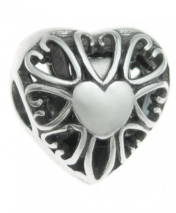 Sterling Silver Love Heart Valentine Clip Lock European Style Bead Charm - C111APG3ABP
