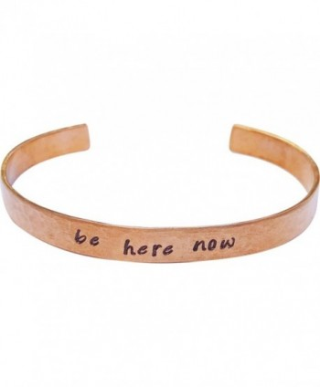 "Be Here Now Bracelet Hand Stamped Mantra Yoga Inspirational Intentional Jewelry 1/4"" copper - CK17YQT6YGO"