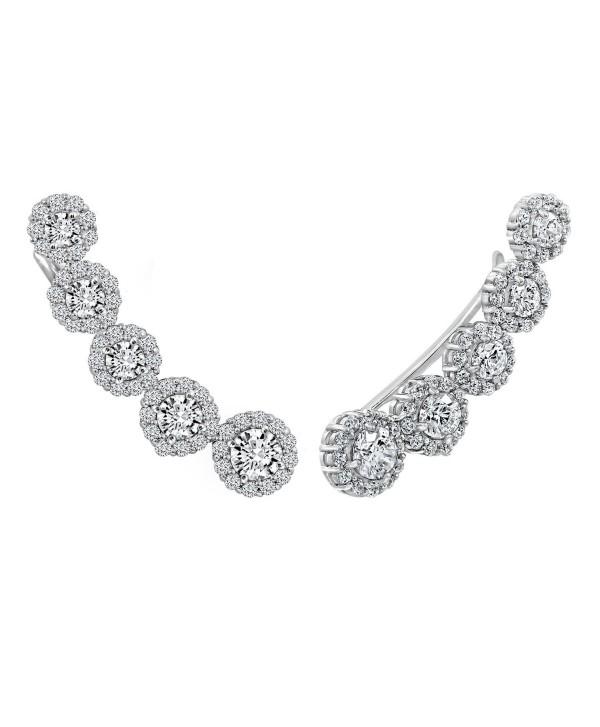 DIAMONBLISS Platinum Clad Swarovski Zirconia Earring Climbers (4.2 cttw) - CV1896M3SS6