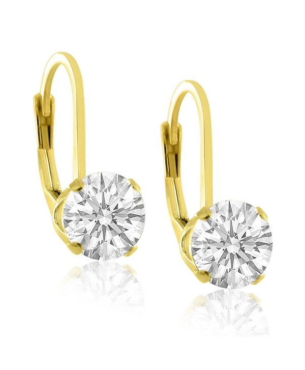 14K Gold Plated Sterling Silver 6mm Brilliant Round White Cubic Zirconia Lever Back Dangling Earrings - CM11YR21ERH