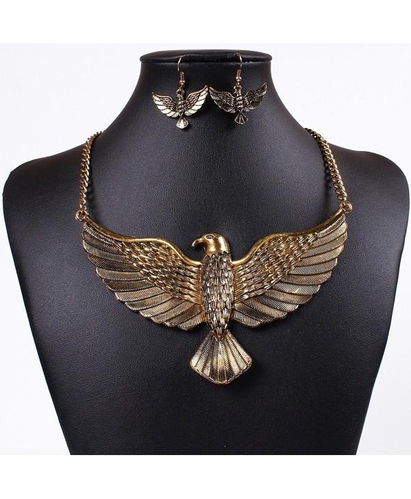 Winson Vintage Big Eagle Statement Collar Necklace Earring Jewelry Set - golden - C911OPR76P3