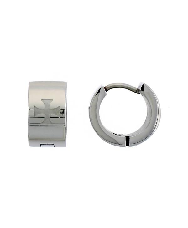 Stainless Steel Huggie Earrings Etched Maltese Cross 1/2 inch Diameter - CA111K5OE4J