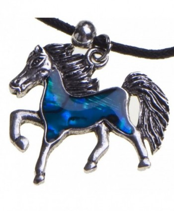 Blue Abalone Shell Horse Pendant Necklace Black Cord Chain Christmas Birthday Gift Jewelry - C611C48VH91