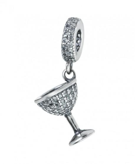 Antique 925 Sterling Silver CZ Crystal Wine Lover Glass Cup Dangle Bead For European Charm Bracelets - C512M2NSZND