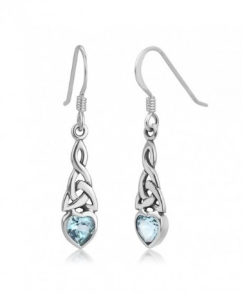 925 Sterling Silver Celtic Knot Gemstone Heart Drop Dangle Hook Earrings 1.29 inches - Blue Topaz - CA12LPM85JB