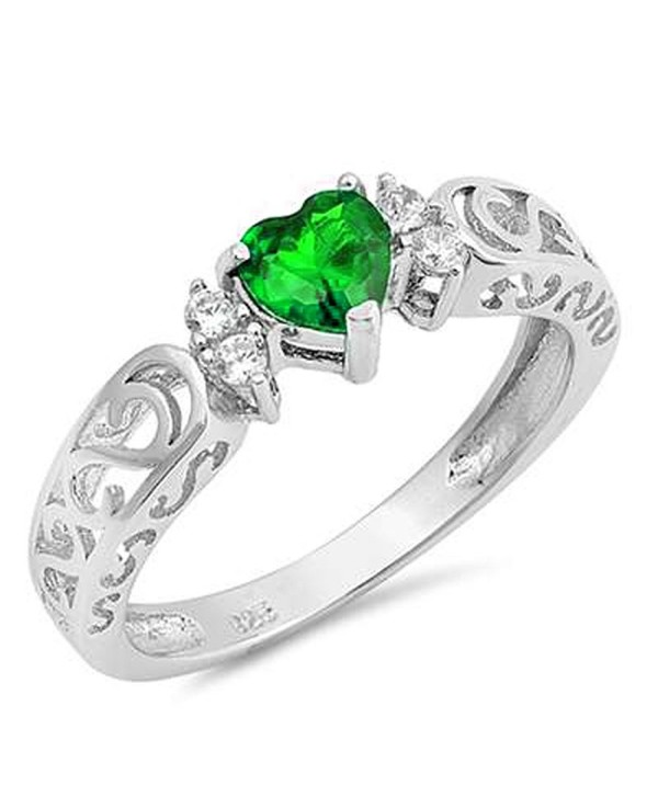 Sterling Gemstone Promise Engagement Filigree - Simulated Emerald - CQ186IQWOXX