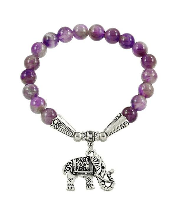 Falari Elephant Lucky Charm Natural Stone Bracelet Amethyst B2448-AM - CB124HGLR0V