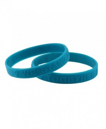 Teal Ribbon Silicone Bracelet (Raised Letter) Fundraiser 25-Pack - CT11DEDPZBL