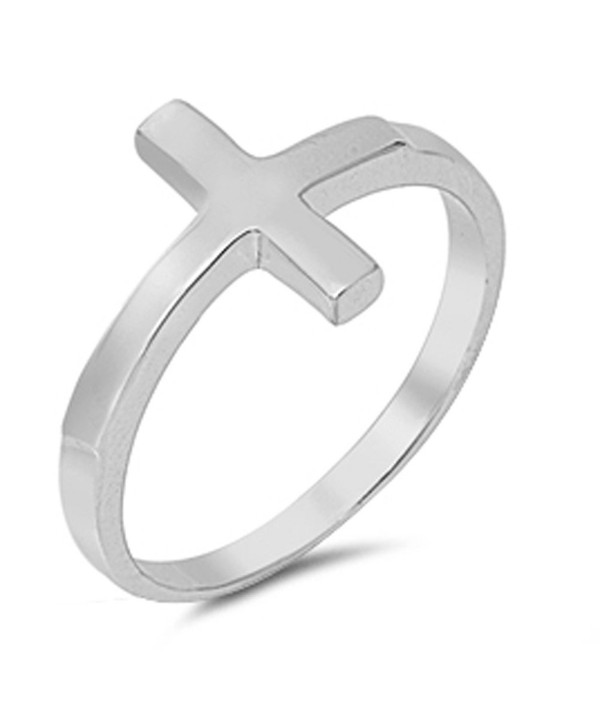 CHOOSE YOUR COLOR Sterling Silver Sideways Cross Ring - Sterling Silver - CG11GQ40JHZ