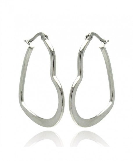 Stainless Steel High Polished heart Womens Hoop Earrings (Other Sizes) - CB1170YWQRB