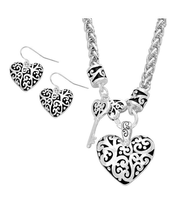 Rosemarie Collections Women's Key To My Heart Pendant Necklace Earrings Gift Set - CL11XKE0B8B