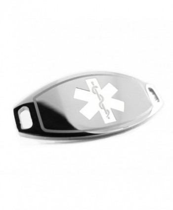 MyIDDr - Pre-Engraved & Customized Steel Diabetes Type II Medical ID- Attachable to Bracelet- White - C1116KGPGB3