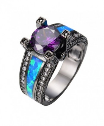Rongxing Jewelry Opal Rings Womens Purple Amethyst Black Promise Rings Size 5-10 - CV12BYSQUDT
