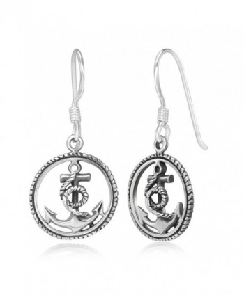 "925 Stelring Silver Anchor Navy Sailor Symbol Rope Wheel Round Dangle Hook Earrings 1.1"" - CT1234YG103"