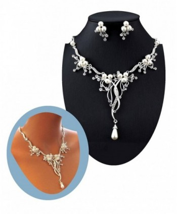 Pearl Crystal Branch Flower and Vine Necklace Set Fashion Jewelry Boxed (159) - CG18399ROZ3